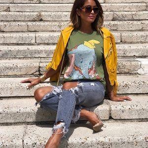 Zara olive green dumbo Disney tee shirt NWT small